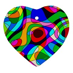 Digital Multicolor Colorful Curves Heart Ornament (two Sides)