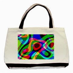 Digital Multicolor Colorful Curves Basic Tote Bag (two Sides)