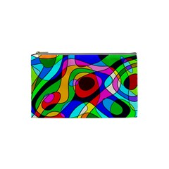 Digital Multicolor Colorful Curves Cosmetic Bag (small)