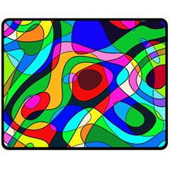 Digital Multicolor Colorful Curves Fleece Blanket (medium)