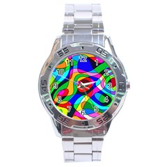 Digital Multicolor Colorful Curves Stainless Steel Analogue Watch