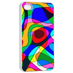 Digital Multicolor Colorful Curves Apple Iphone 4/4s Seamless Case (white)