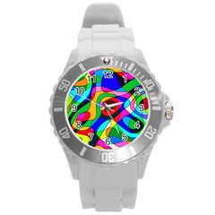 Digital Multicolor Colorful Curves Round Plastic Sport Watch (l)