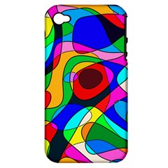 Digital Multicolor Colorful Curves Apple Iphone 4/4s Hardshell Case (pc+silicone)