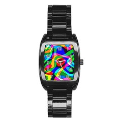 Digital Multicolor Colorful Curves Stainless Steel Barrel Watch