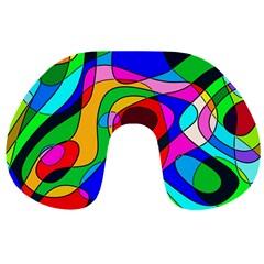 Digital Multicolor Colorful Curves Travel Neck Pillows