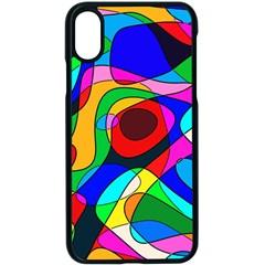 Digital Multicolor Colorful Curves Apple Iphone X Seamless Case (black)