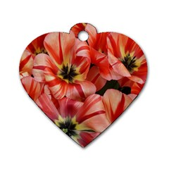 Tulips Flowers Spring Dog Tag Heart (two Sides)