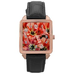 Tulips Flowers Spring Rose Gold Leather Watch