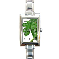 Plant Berry Leaves Green Flower Rectangle Italian Charm Watch