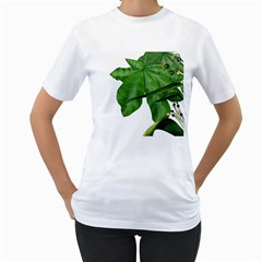 Plant Berry Leaves Green Flower Women s T Shirt (white) (two Sided)