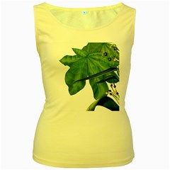 Plant Berry Leaves Green Flower Women s Yellow Tank Top