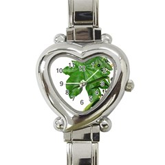 Plant Berry Leaves Green Flower Heart Italian Charm Watch