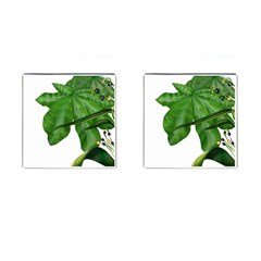 Plant Berry Leaves Green Flower Cufflinks (square)