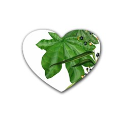 Plant Berry Leaves Green Flower Rubber Coaster (heart)