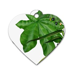 Plant Berry Leaves Green Flower Dog Tag Heart (one Side)