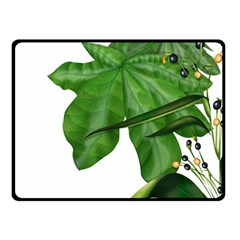 Plant Berry Leaves Green Flower Double Sided Fleece Blanket (small)