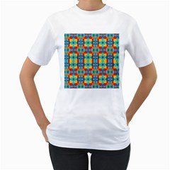 Pop Art Abstract Design Pattern Women s T Shirt (white) (two Sided)