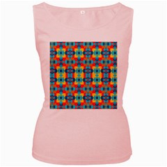 Pop Art Abstract Design Pattern Women s Pink Tank Top