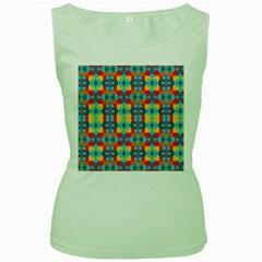 Pop Art Abstract Design Pattern Women s Green Tank Top