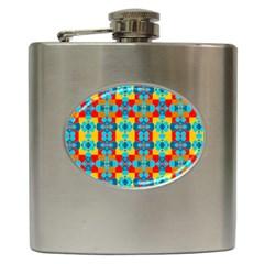 Pop Art Abstract Design Pattern Hip Flask (6 Oz)