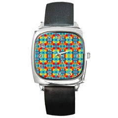 Pop Art Abstract Design Pattern Square Metal Watch