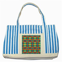 Pop Art Abstract Design Pattern Striped Blue Tote Bag