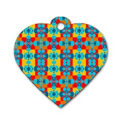 Pop Art Abstract Design Pattern Dog Tag Heart (two Sides)