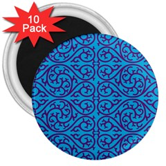 Monogram Blue Purple Background 3  Magnets (10 Pack)