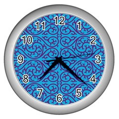 Monogram Blue Purple Background Wall Clocks (silver)