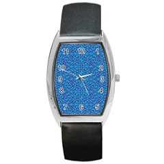 Monogram Blue Purple Background Barrel Style Metal Watch