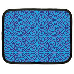 Monogram Blue Purple Background Netbook Case (large)