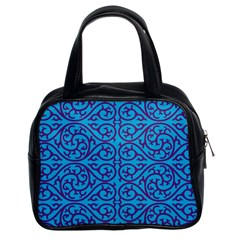 Monogram Blue Purple Background Classic Handbags (2 Sides)
