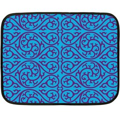 Monogram Blue Purple Background Double Sided Fleece Blanket (mini)
