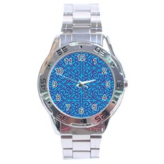 Monogram Blue Purple Background Stainless Steel Analogue Watch