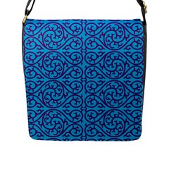Monogram Blue Purple Background Flap Messenger Bag (l)