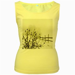 Snow Winter Cold Landscape Fence Women s Yellow Tank Top