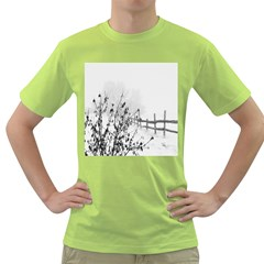 Snow Winter Cold Landscape Fence Green T Shirt