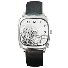 Snow Winter Cold Landscape Fence Square Metal Watch