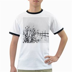 Snow Winter Cold Landscape Fence Ringer T Shirts