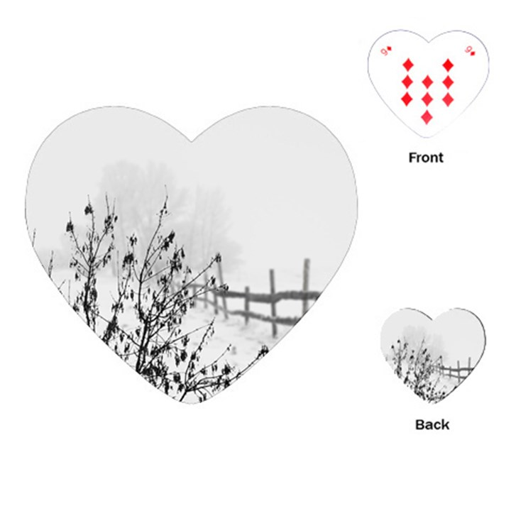 Snow Winter Cold Landscape Fence Playing Cards (Heart)