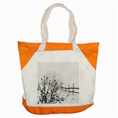Snow Winter Cold Landscape Fence Accent Tote Bag