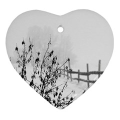 Snow Winter Cold Landscape Fence Heart Ornament (two Sides)