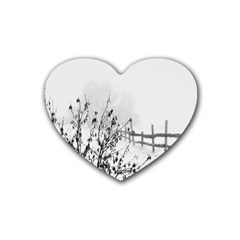 Snow Winter Cold Landscape Fence Heart Coaster (4 Pack)