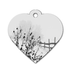 Snow Winter Cold Landscape Fence Dog Tag Heart (two Sides)