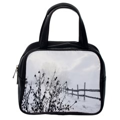 Snow Winter Cold Landscape Fence Classic Handbags (one Side)