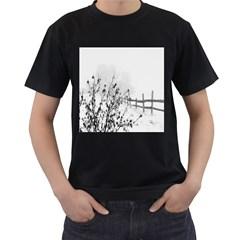 Snow Winter Cold Landscape Fence Men s T Shirt (black)