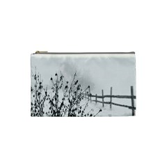 Snow Winter Cold Landscape Fence Cosmetic Bag (small)