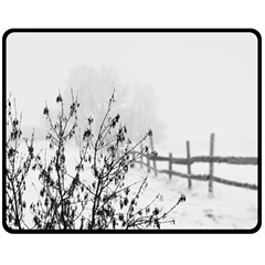 Snow Winter Cold Landscape Fence Double Sided Fleece Blanket (medium)