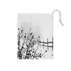 Snow Winter Cold Landscape Fence Drawstring Pouches (medium)